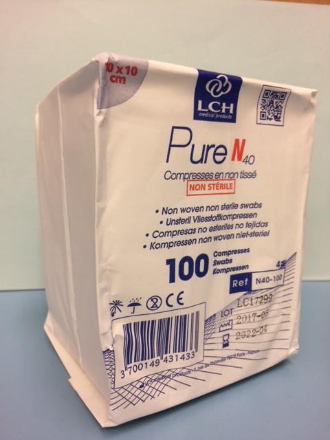 Gaaskompressen Pure N 40 Non-woven 10×10 Cm